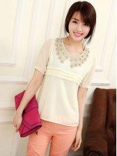 Japanese Style Lace Collar Short Sleeve Blouse