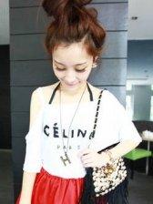 Korean Off Shoulder Asymmetrical White T-shirt