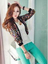 Korean Style Fashion Sequin Fitted Small Coat
