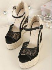 Hot Sale Lady Stylish Peep-toe Black Weave Lace Buckle Wedges