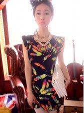 New Fashion Feather Pattern Round Collar Sleeveless Dress