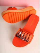 Summer Beaded Open Toe Peach Platforms Slippers