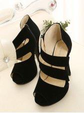 Fashion Woman Zipper Peep Toe High Heel Shoes