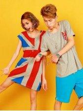 New Fashion Flag-m Round Collar Short Sleeve Couple Tee