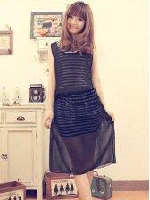 Fresh Summer Cotton&Chiffon Mix Stripes Two-piece Dress