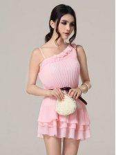 New Arrival Ruffles Pure Color One Shoulder Dress
