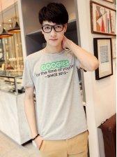 Korean Style Men Letters Print Short Sleeve T-shirt