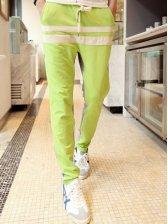 Men Fashion Color Block Cotton Long Pants