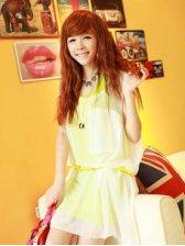 Summer Woman Asymmetrical Hem Two-piece Dress