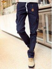 Men Fashion Drawstring Waist Casual Cargo Pants