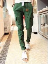 Vogued Men Zipper Decoration Casual Long Pants