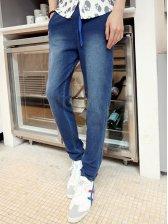 Men Fashion Washed Drawstring Zipper Pockets Denim Jeans
