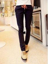 Men Fashion Drawstring Waist Casual Long Pants