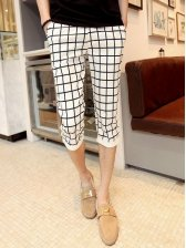 New Trendy Men Check Pattern Casual Cropped Pants