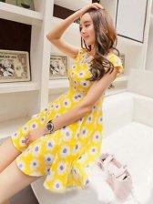 Summer Romantic Flower Round Neck Yellow Dress