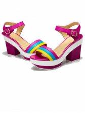 New Summer Color Block Chunky Heel Sandals