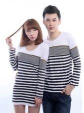 New Fashion Stripes Round Neck Long Sleeve Couple Tee