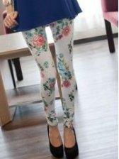 Korean Summer  Flower Printed Silk White Leggings