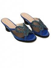 Summer Style Diamonds Butterfly Blue Slippers