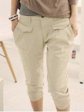 Summer Korean Pockets Design Three-quarter Beige Pants