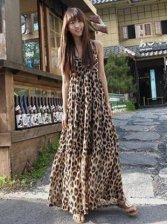 New Boho Style V-neck Leopard Straps Maxi Dress