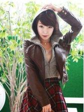 Punk Girl Incline Zipper Hooded Coffee Jacket