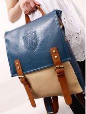 Korean Style Zipper Opening Color Block Pockets Backpack
