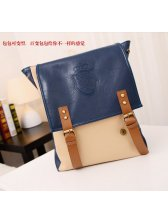 Korean Style Zipper Opening Color Block Pockets Backpack
