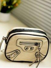 Sweet Girls Color Block Zipper Opening One Shoulder Bag