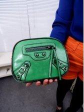 Korean Style Zipper Opening Color Block One Shoulder Bag