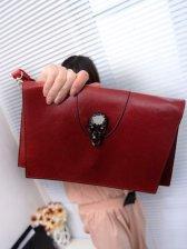 Korean Style Zipper Opening Pure Color One Shoulder Bag