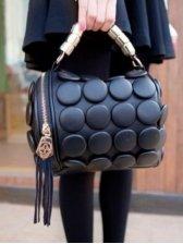 New Fashion Tassel Circular Decoration Color Block Handbag