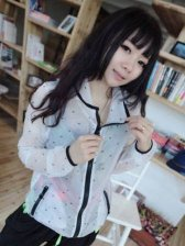 Fashion Style See-Through Zipper Short Coat With Hat