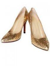 Modern Fashion Sharp Toe Sequin Golden Pumps