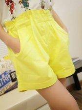 Modern Style Pocket Yellow Casual Short Pants