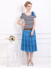 Lady's Striped T-shirt&Long Skirt Two-piece Set with Belt
