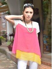 Korean Fashion Color Matching Short Sleeve Blouse