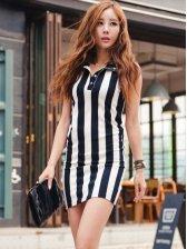 Charming Lady Striped Wrap Tank Mini Dress