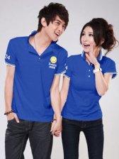 Hot Sale Smile Face Turn Collar Cotton  Blue Couple Tee