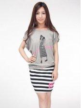 Stylish New Cotton Tee&Striped Short Skirt Two-piece Set