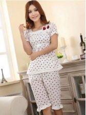 Hot Fashion Flower Printing Bowknot Short Sleeve Pajamas Set
