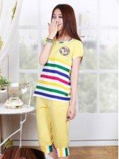 Hot Fashion Colorful Stripes Short Sleeve Pajamas Set