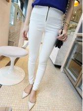 Hot Sale White Pure Color Natural Waist Zipper Long Pants