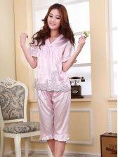 Hot Summer Short Sleeve V-neck Embroidery Pajamas Set