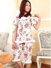 Hot Summer Short Sleeve Floral Round Collar Pajamas Set