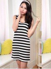 Korean Style Round Collar Stripes Sleeveless Pajamas