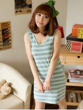 Hot Sale Sleeveless Stripes Round Collar Pajamas
