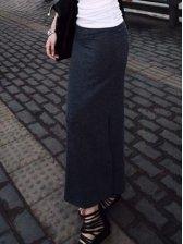 European Style Pure Color Slim Fit Long Skirt