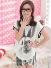 Sweet Girls Stripes Round Collar Cartoon Printing Pajamas Set