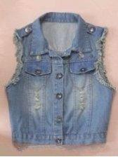 Summer Korean Hole Rivet Turn-Down Collar Tassel  Sleeveless Denim Waistcoat